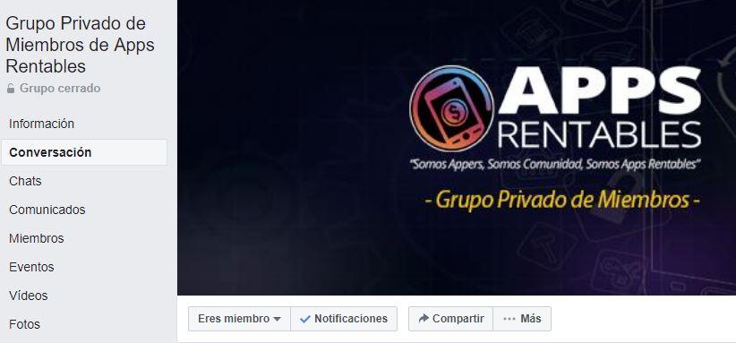 Comunidad privada en Facebook de miembros de appsrentables.com (imagen de la pantalla de inicio del grupo en Facebook)