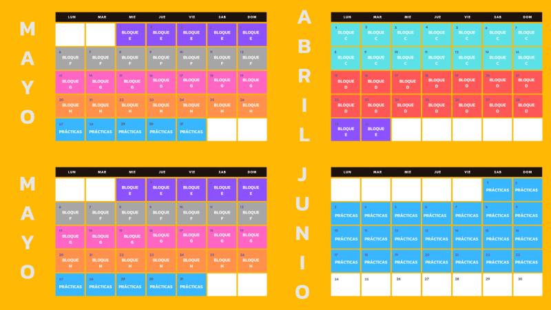 Calendario del curso Adopta un copywriter