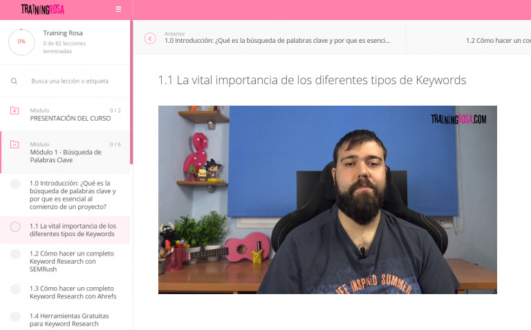 Clase del curso online de seo local Training Rosa, impartida por David Ayala