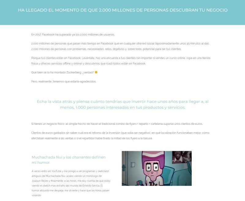 Ejemplo de trabajo profesional de copywriting de Javi Pastor ya maquetado en la web (sobre mí)
