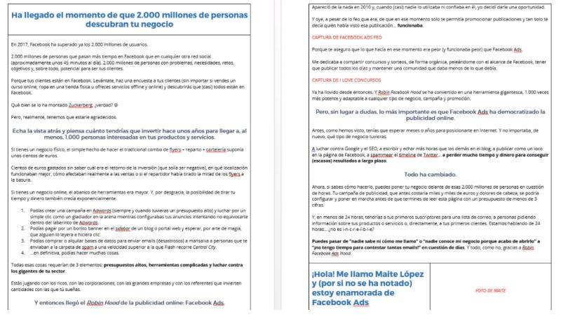 Ejemplo de trabajo profesional real de copywriting (sobre mí) entregado al cliente en formato PDF