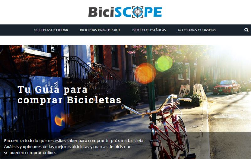 Ejemplo de web que se puede crear con el curso monetiza tu pasión: biciscope.com