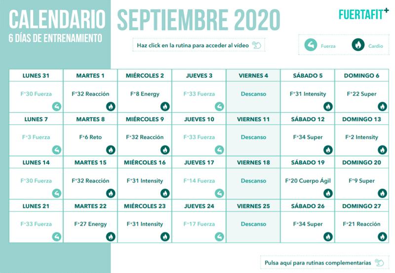 Fuertafit Plus opiniones (gimnasio online de Sergio Peinado). Calendario de entrenamiento