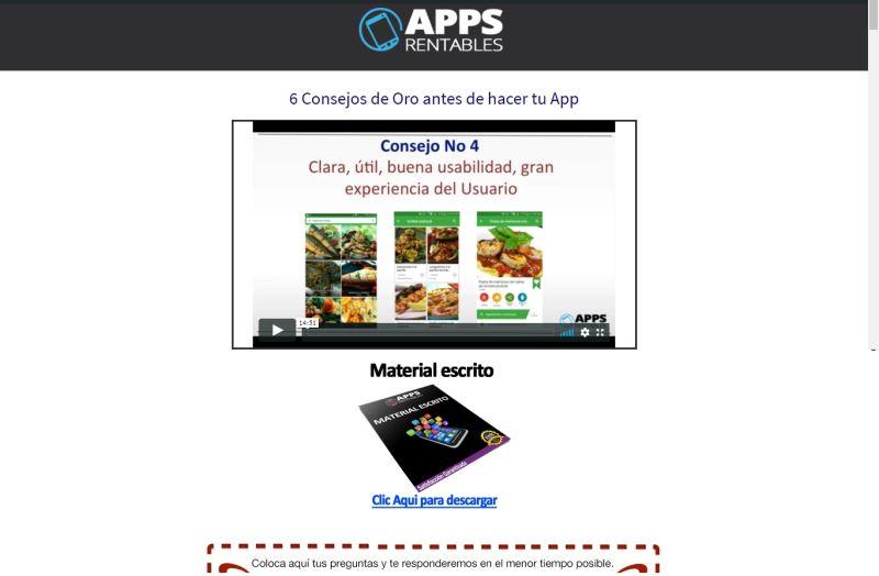 Imagen de una lección del curso online para crear apps rentables. Vídeo, material escrito descargable y preguntas contextuales sobre la lección