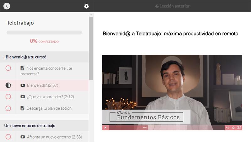 Curso online Teletrabajo: máxima productividad en remoto, de Kenso. Plataforma formativa