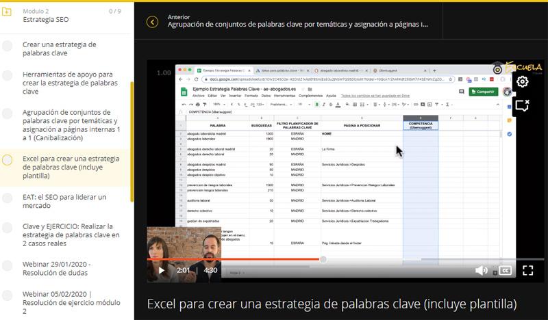 """Análisis y opiniones del curso """"Optimizer Manager"""" para convertirse en experto en Google y en posicionamiento web, impartido por Ana Pedroche y Fran de Vicente. Vista del área de alumnos."""
