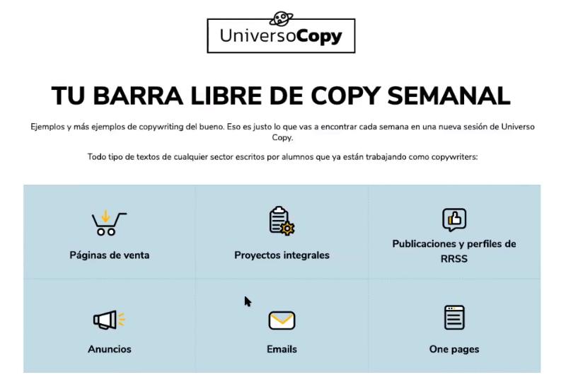 Reseña y opiniones de Soy Copywriter (antiguo Adopta un Copywriter) de Javi Pastor, el curso para aprender el negocio de copywriting. Vista del bonus Universo Copy