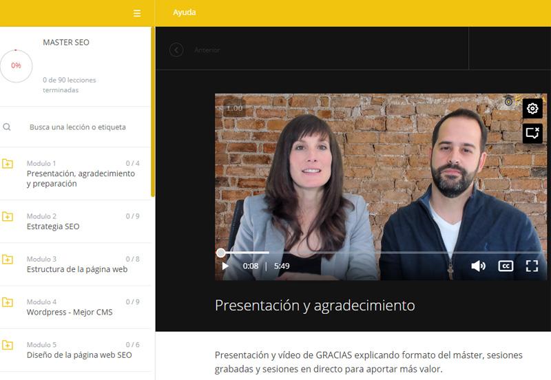 """Opiniones sobre la formación de Fran de Vicente y Ana Pedroche """"Optimizer Manager"""" (Experto en Google). Vista del área de alumnos"""