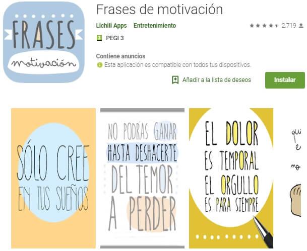 Pantala de descripción de una app de frases de motivación en tienda de aplicaciones (Google Play) con capturas