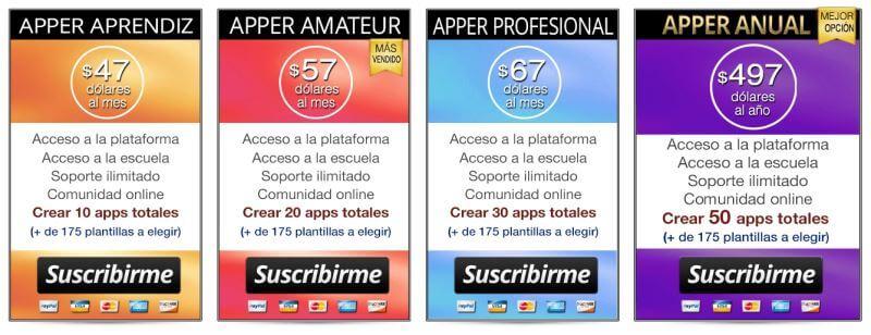 Planes y precios de acceso a la plataforma y curso online para crear Apps Rentables