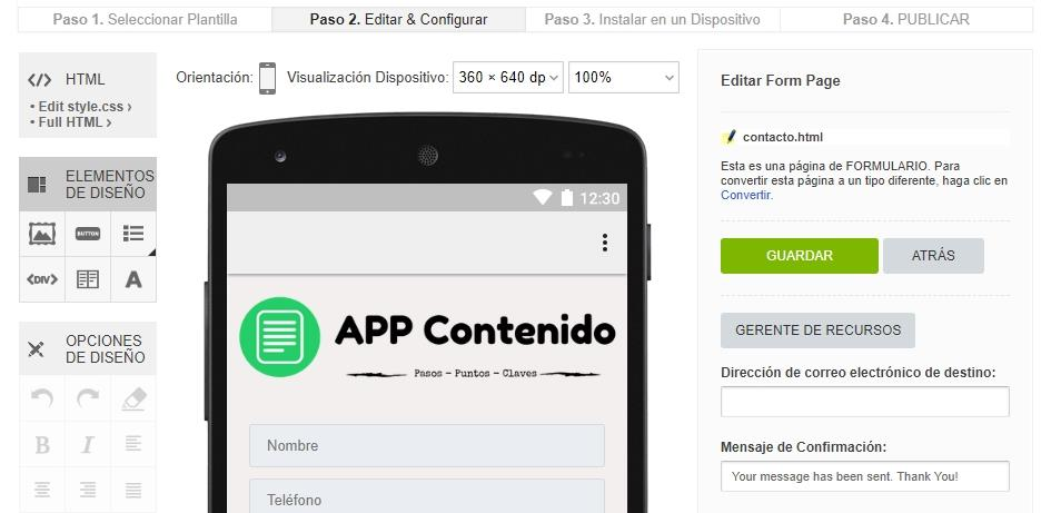 Pantalla de edición de la Plataforma online de appsrentables.com
