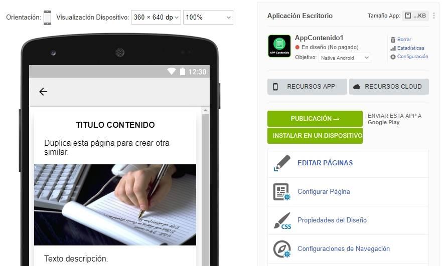 Pantalla del programa online para crear apps sin programar con vista previa de los cambios