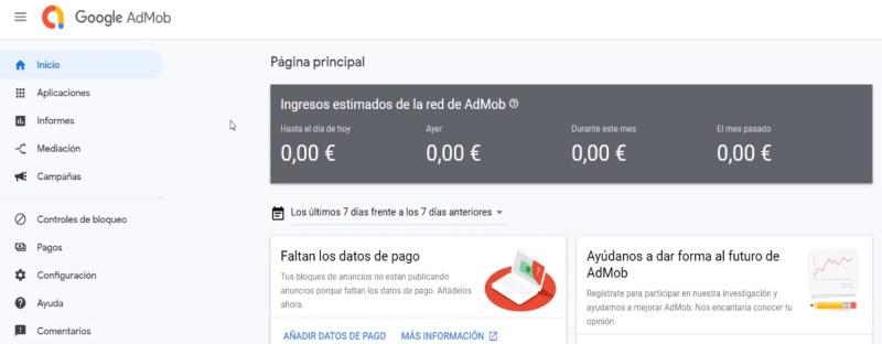 Pantalla de inicio de AdMob, la herramienta para publicidad móvil de Google
