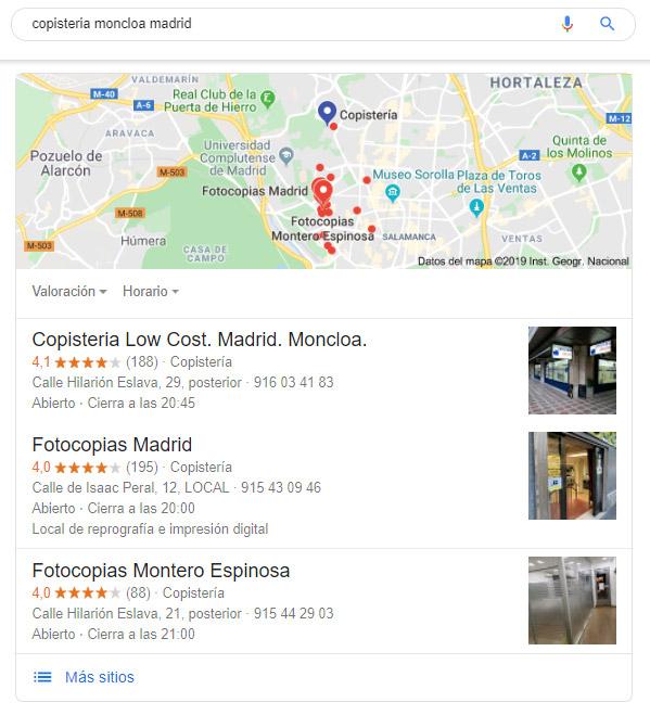 Imagen del local pack de Google en los resultados de búsqueda